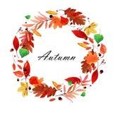 Grinalda das folhas de outono da aquarela Fotografia de Stock Royalty Free