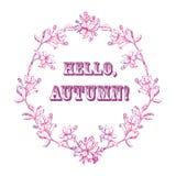 Grinalda das folhas e das flores com o outono da palavra olá! Imagem de Stock