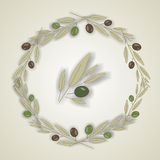 Grinalda das folhas verde-oliva, vetor ilustração stock