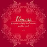 Grinalda das rosas ou das flores das peônias Elementos florais do projeto do quadro para seus convite e cart?o do casamento M?o d ilustração do vetor