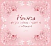 Grinalda das rosas ou das flores das pe?nias com az?lea, p?lida - cores do rosa e as brancas Elementos florais do projeto do quad ilustração stock