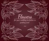 Grinalda das rosas ou das flores das pe?nias com vermelho, marrom, chocolate e o p?lido r?sticos - cores cor-de-rosa elementos fl foto de stock