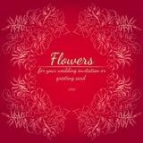 Grinalda das rosas ou das flores das pe?nias Elementos florais do projeto do quadro para seus convite e cart?o do casamento M?o d ilustração stock