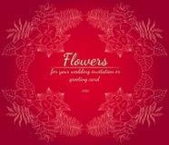 Grinalda das rosas ou das flores das pe?nias Elementos florais do projeto do quadro para seus convite e cart?o do casamento M?o d ilustração royalty free