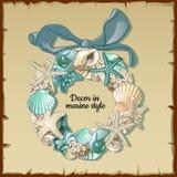 Grinalda de habitantes marinhos, decoração interior Imagem de Stock