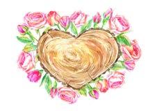 Grinalda de madeira da fatia e da flor Árvore e rosas de seção transversal ilustração do vetor