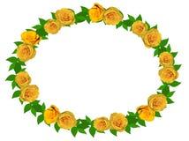 Grinalda de rosas amarelas em um fundo transparente ilustração stock