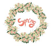 Grinalda de rosas da aquarela com rotulação foto de stock royalty free