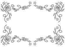 Grinalda de rosas ou de flores pretas das pe?nias e ramos isolados do branco Elementos do projeto do quadro de Foral para convite ilustração do vetor