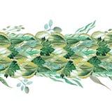 Grinalda densa de Tileable das folhas e das ervas da aquarela Imagens de Stock