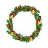 Grinalda do abeto do Natal isolada no fundo branco fotografia de stock