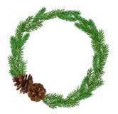Grinalda do abeto do Natal isolada no fundo branco imagem de stock royalty free