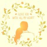 Grinalda do cartão do amor Fotografia de Stock