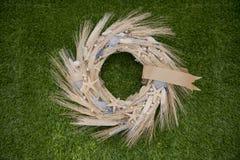 Grinalda do close up do trigo das orelhas Foto de Stock