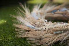 Grinalda do close up do trigo das orelhas Foto de Stock Royalty Free