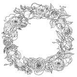 Grinalda do desenho da mão preto e branco Mandala da flor Imagens de Stock Royalty Free