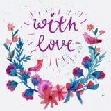 Grinalda do louro da flor da aquarela com borboleta Grinalda e texto da flor da aquarela com amor ilustração royalty free