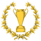 Grinalda do louro e copo dourados do vencedor Imagens de Stock Royalty Free