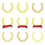 Grinalda do louro do ouro com vetor vermelho da fita fotografia de stock royalty free