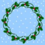Grinalda do Natal, azevinho e ramos redondos do abeto Imagens de Stock Royalty Free