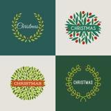 Grinalda do Natal com as bagas vermelhas do azevinho. Grupo de vetores Foto de Stock Royalty Free