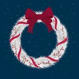 Grinalda do Natal com as fitas com curva vermelha Fotos de Stock Royalty Free