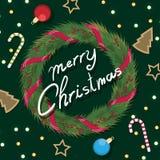 Grinalda do Natal com as fitas com curva vermelha Fotografia de Stock Royalty Free