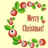Grinalda do Natal com baga do azevinho Imagens de Stock