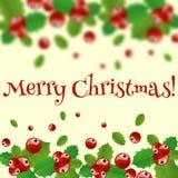 Grinalda do Natal com baga do azevinho Imagem de Stock Royalty Free