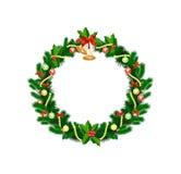 Grinalda do Natal com baubles e ?rvore de Natal Fotos de Stock