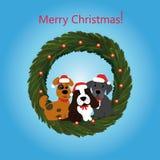 Grinalda do Natal com cães Fotografia de Stock Royalty Free
