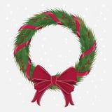 Grinalda do Natal com curva vermelha das fitas Imagem de Stock Royalty Free