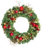 Grinalda do Natal com decoração dourada Fotografia de Stock Royalty Free