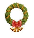 Grinalda do Natal com gerland dourado, curva vermelha e sinos Imagem de Stock Royalty Free