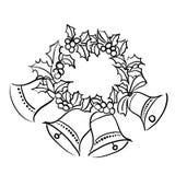 Grinalda do Natal com sinos Imagens de Stock Royalty Free