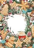 Grinalda do Natal da aquarela com cookies e ramos do pão-de-espécie Ilustração desenhada mão Bom para cartões e decoratio do Nata fotos de stock