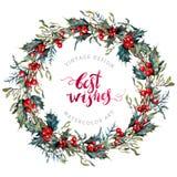 Grinalda do Natal da aquarela do azevinho e do visco ilustração do vetor