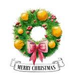 Grinalda do Natal da aquarela Papai Noel em um sledge Ilustração desenhada mão Molde do projeto do convite Fita do vintage ilustração do vetor