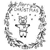 Grinalda do Natal da garatuja e porco bonito ilustração royalty free