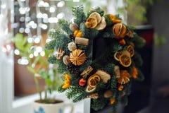 Grinalda do Natal de árvores de Natal, de tangerinas, de laranjas e de jujubas Imagens de Stock Royalty Free