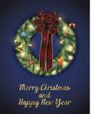 Grinalda do Natal decorada Fotos de Stock Royalty Free