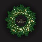 A grinalda do Natal feita do pinho de vista naturalista ramifica Deco Fotos de Stock Royalty Free