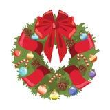 Grinalda do Natal na porta Envolva da árvore de Natal com fitas e brinquedos Ilustração do vetor para crianças ilustração stock