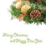 Grinalda do Natal no ano novo do fundo branco Fotos de Stock Royalty Free