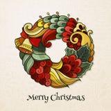 Grinalda do Natal no estilo da garatuja Imagem de Stock