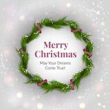 Grinalda do Natal no fundo claro com sparkles Fotografia de Stock