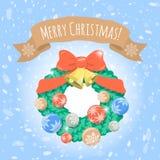 Grinalda do Natal no fundo nevado Fotografia de Stock Royalty Free