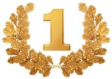 A grinalda do ouro do carvalho sae com o número um Fotos de Stock