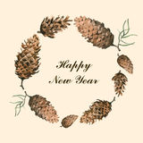 Grinalda do ramo do pinho com ilustração tirada mão do vetor do cone Foto de Stock