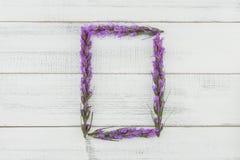 Grinalda do retângulo das flores violetas do liatris fotos de stock royalty free